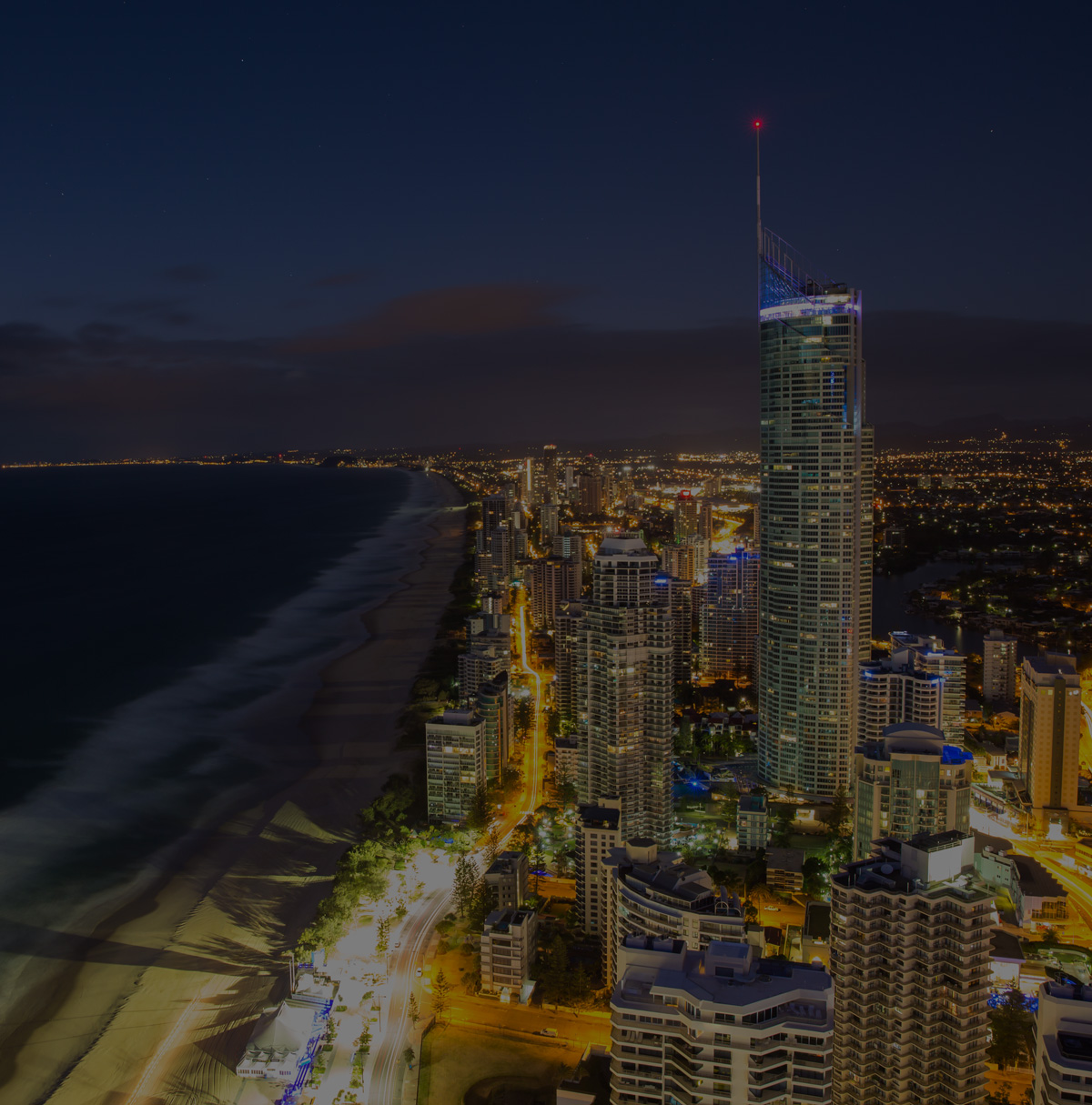 Gold coast aerial view at night