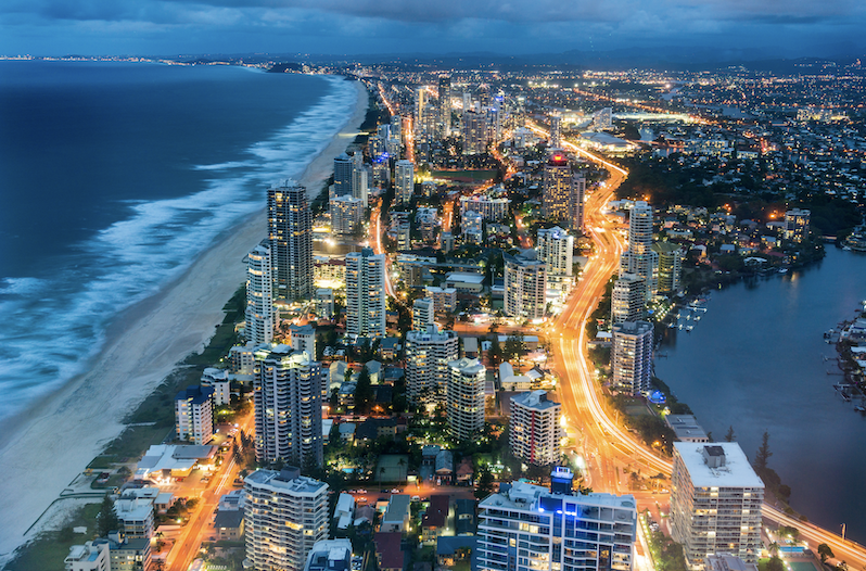 The east coast of Australia lit up with city lights.
